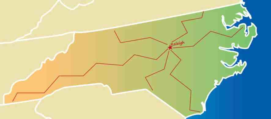 A map of North Carolina