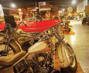 Motorcycles at the Wheels Through Time Transportation Museum.