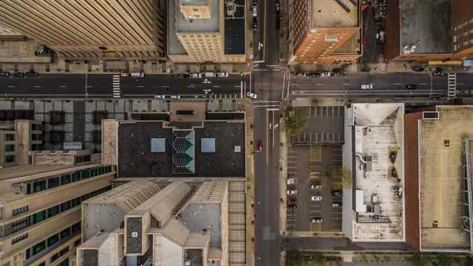 Top down view of buildings in downtown Raleigh, NC.