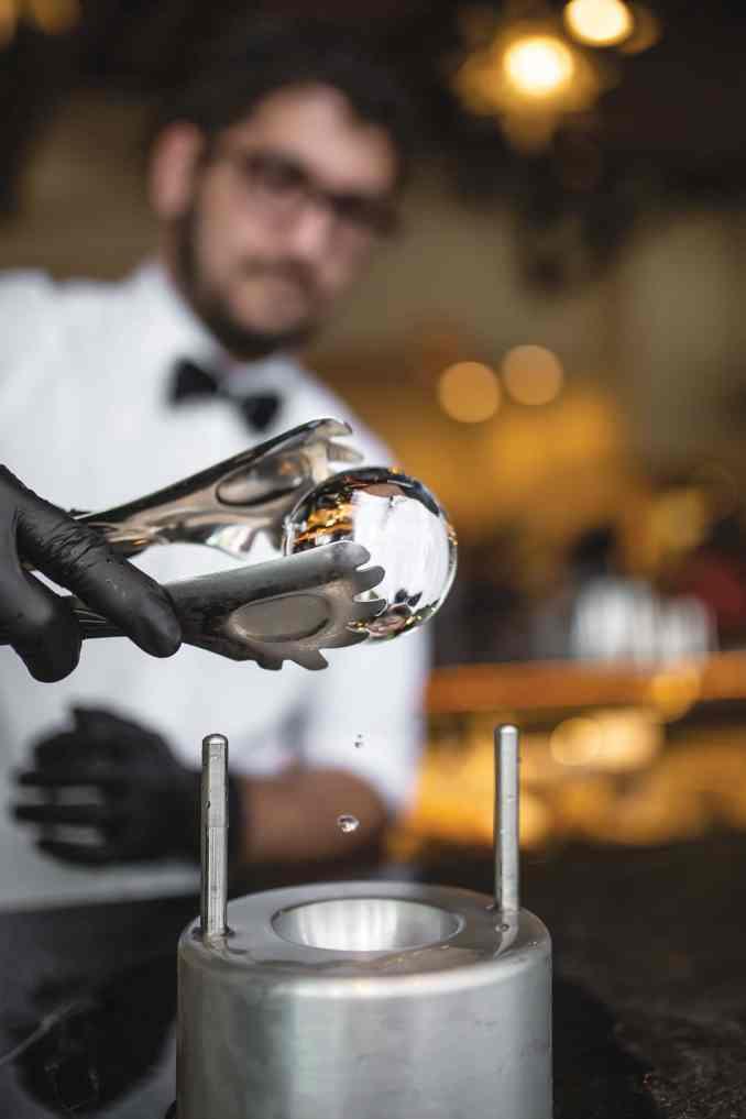 Stir chef crafting artisanal ice