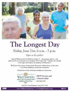 Waltonwood Cary Parkway Invites Public to Take Strides in Fighting Alzheimer's Disease @ Waltonwood Cary Parkway | Cary | North Carolina | United States