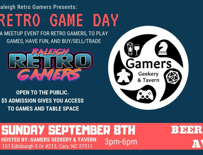 raleigh retro gamers, trade event, games and geekery tavern, retro games