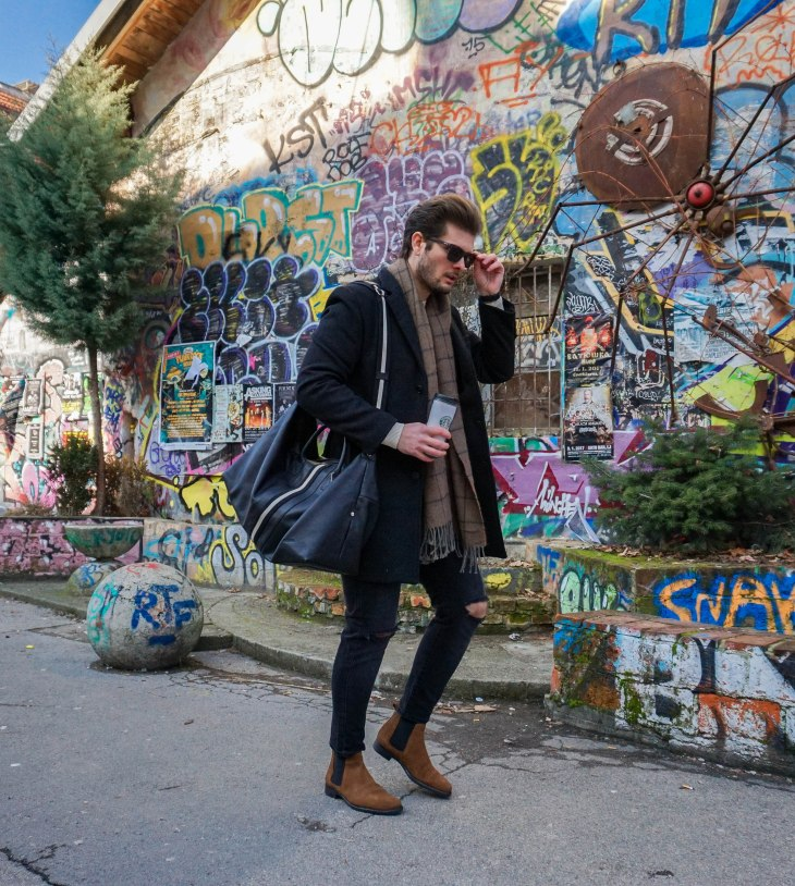 Rale Popic, Picard bag, Lecharlwatch, Bellfield coat, Way Darby sunglasses, Zara jeans