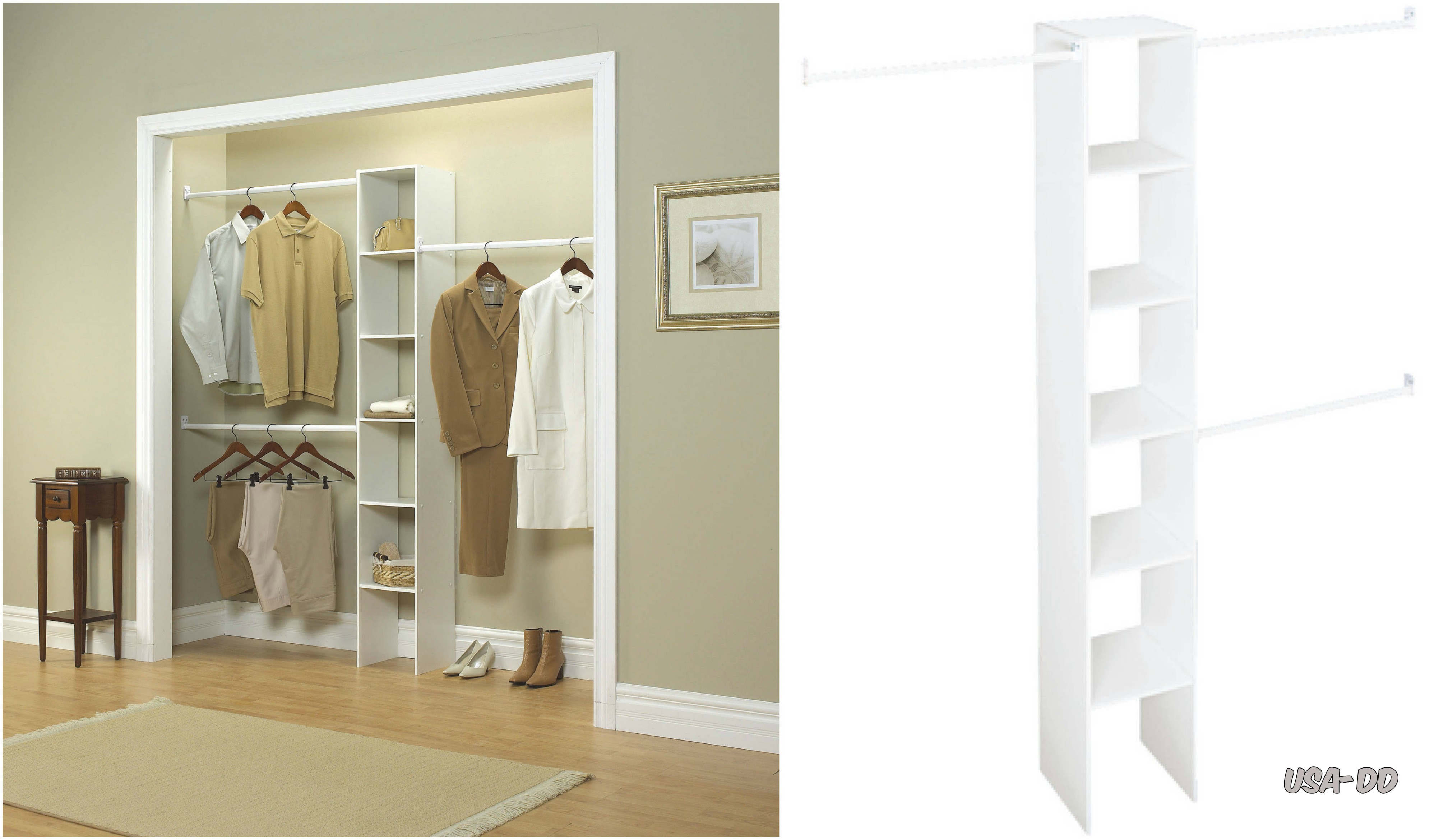 Custom Closet Organizer Kit Shelf Wardrobe System