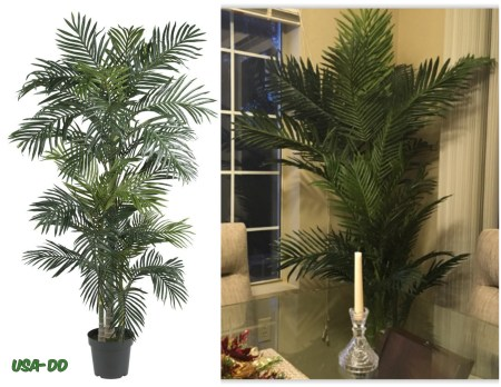 Large artificial silk palm tree potted plant tropical home for Palm tree home decorations