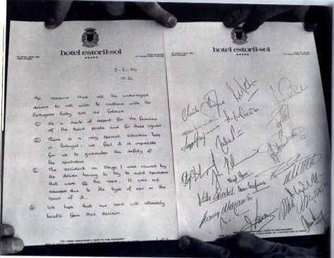 Letter signed by the works drivers at the hotel following the earlier accident