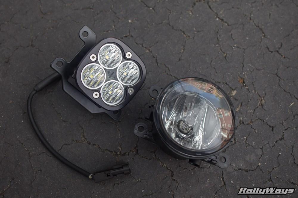 medium resolution of fiesta st stock fog light vs baja designs squadron pro