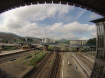 Main train station in Freiburg with bicycle bridge