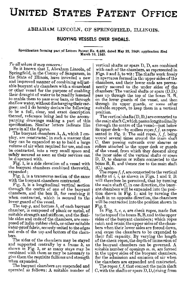 medium resolution of lincoln patent pg 1