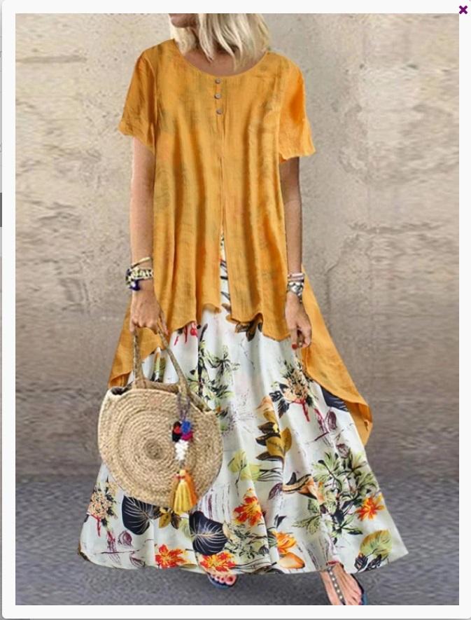 Rochie de vara lunga galbena si cu partea de jos imprimeu floral