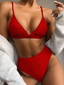 Costum de baie cu talie inalta rosu