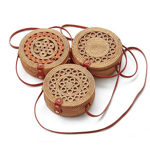 Geantă modernă pentru femei, lucrată manual din ratan natural, geantă de umăr rotundă