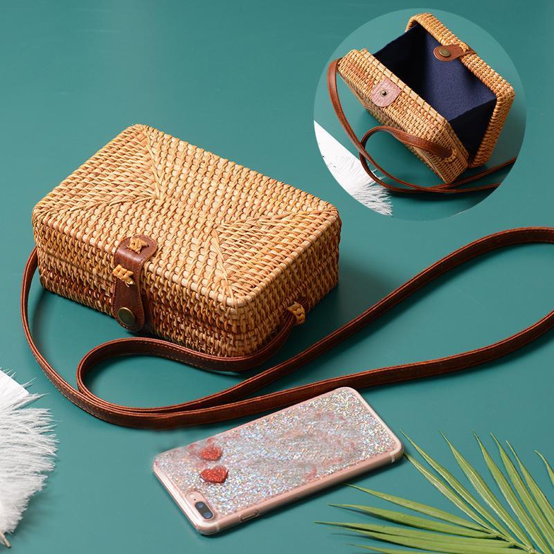 Geanta de Vara din Ratan, pentru Femei, Geanta Cross Body Handmade Tesuta, Geanta de Mana Cerc Boemia