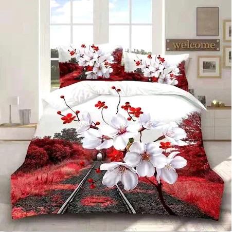 Lenjerie de pat dublu, 3D DIGITAL PRINT PUCIOASA, 4 piese, 2 persoane,, flori de cires