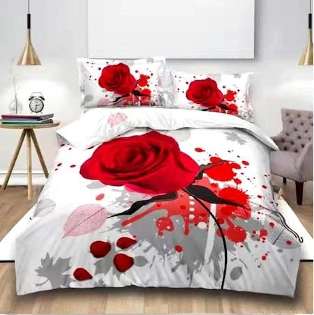 Lenjerie de pat dublu, 3D DIGITAL PRINT PUCIOASA, 4 piese, 2 persoane, trandafir rosu