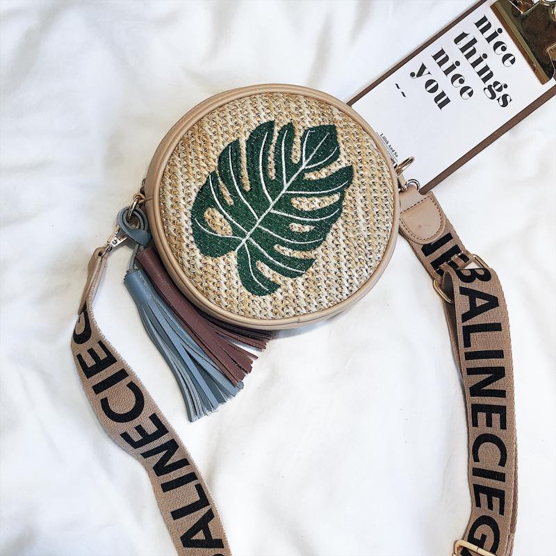 Poșetă de vară pentru femei, mică și rotundă, cu broderie de purtat pe umăr sau stil poștaș, geantă de paie