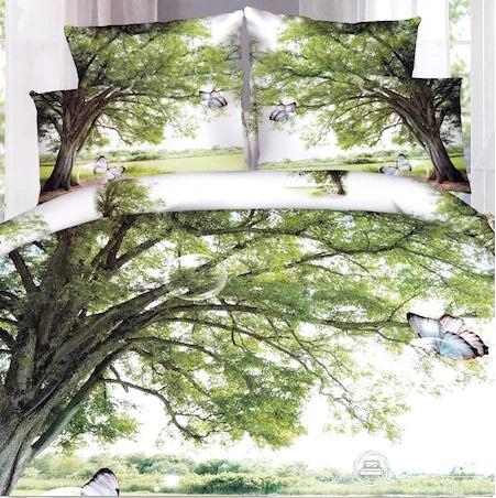 Set complet lenjerie de pat dublu + pilota + 2 perne, Digital Print PUCIOASA, 7 piese, 2 persoane, copac