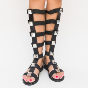 sandale gladiator negre fara toc