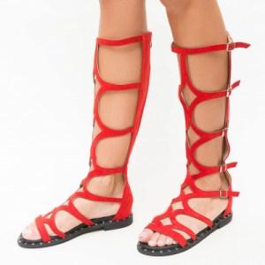 Sandale fara toc rosii