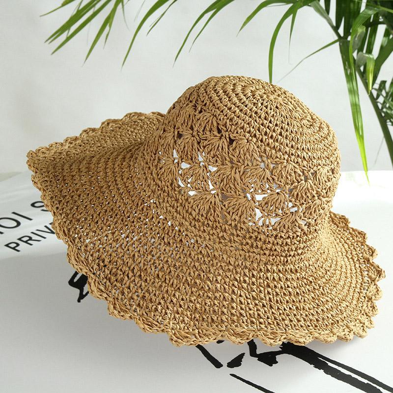 Pălărie de soare casual pentru femei, lucrată și croșetată manual, model cu perforații, pentru plajă
