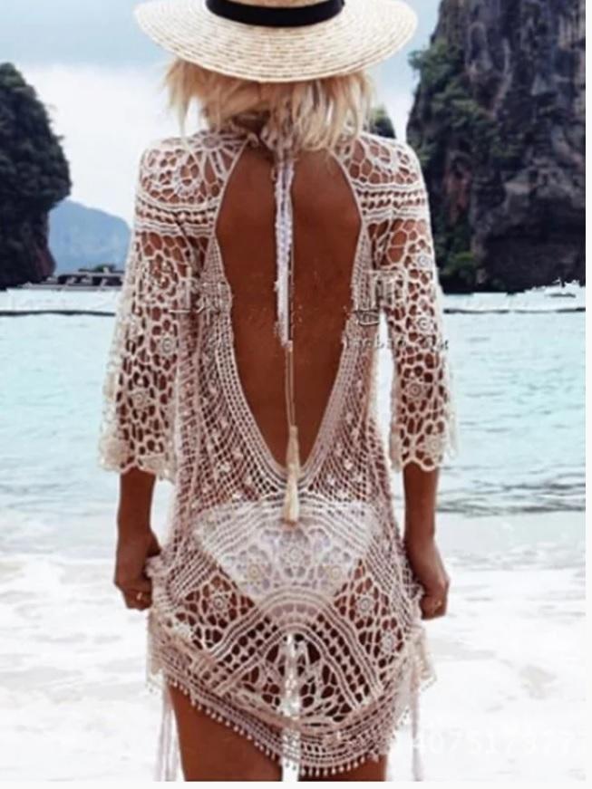 Rochie de plaja alba, transparenta, aspect handmade crosetat