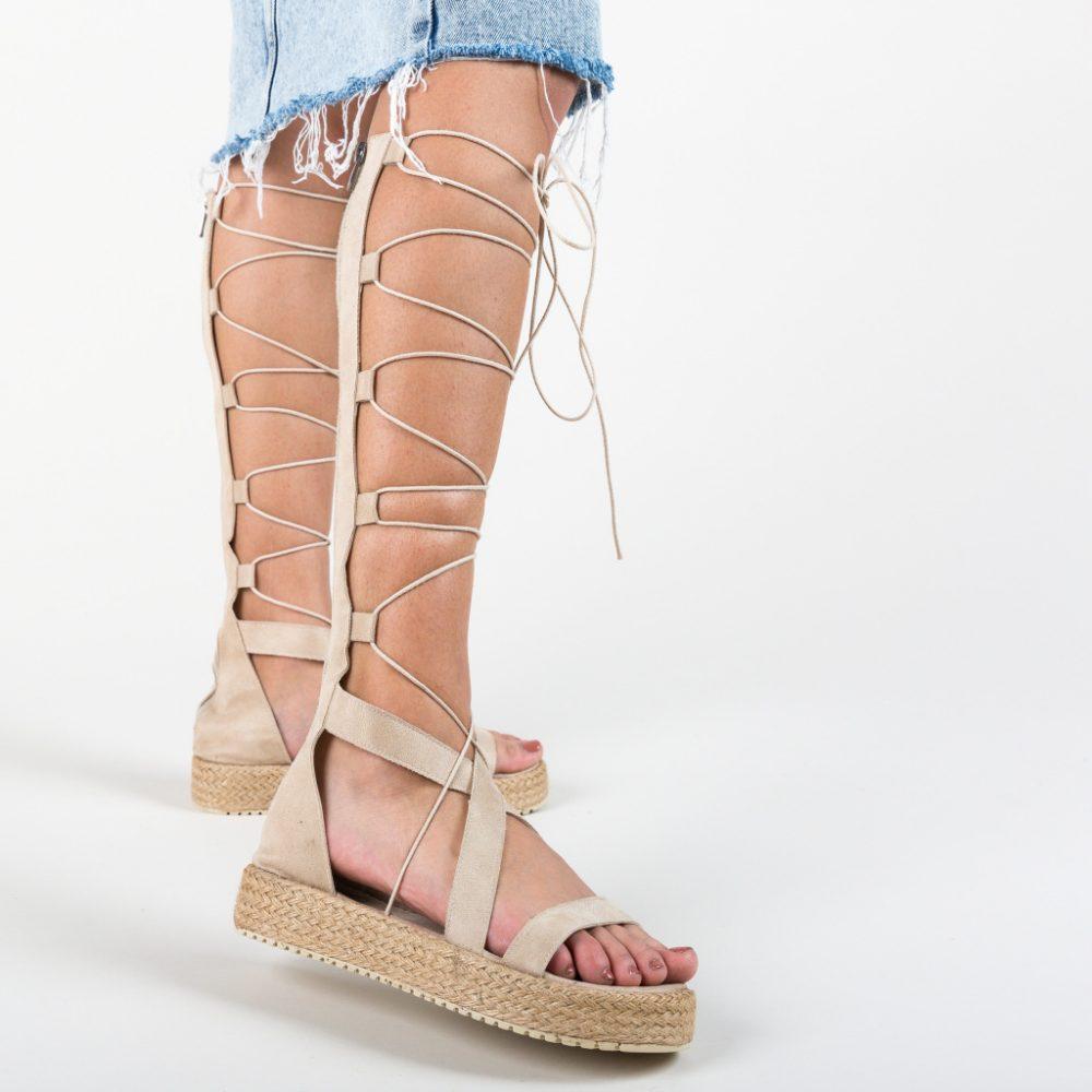 Sandale gladiator, fara toc, culoare crem