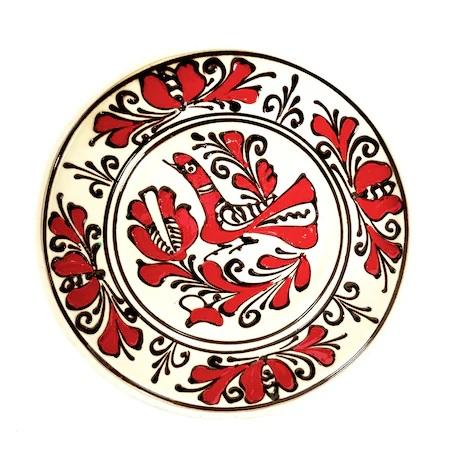 Farfurie din ceramica de Corund, model 4331, albrosunegru, Ø 160 mm