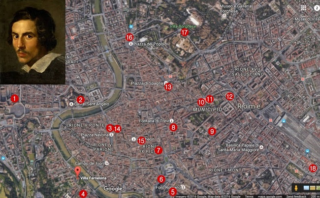 harta tur Bernini prin Roma