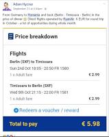 Printscreen tarif Ryanair