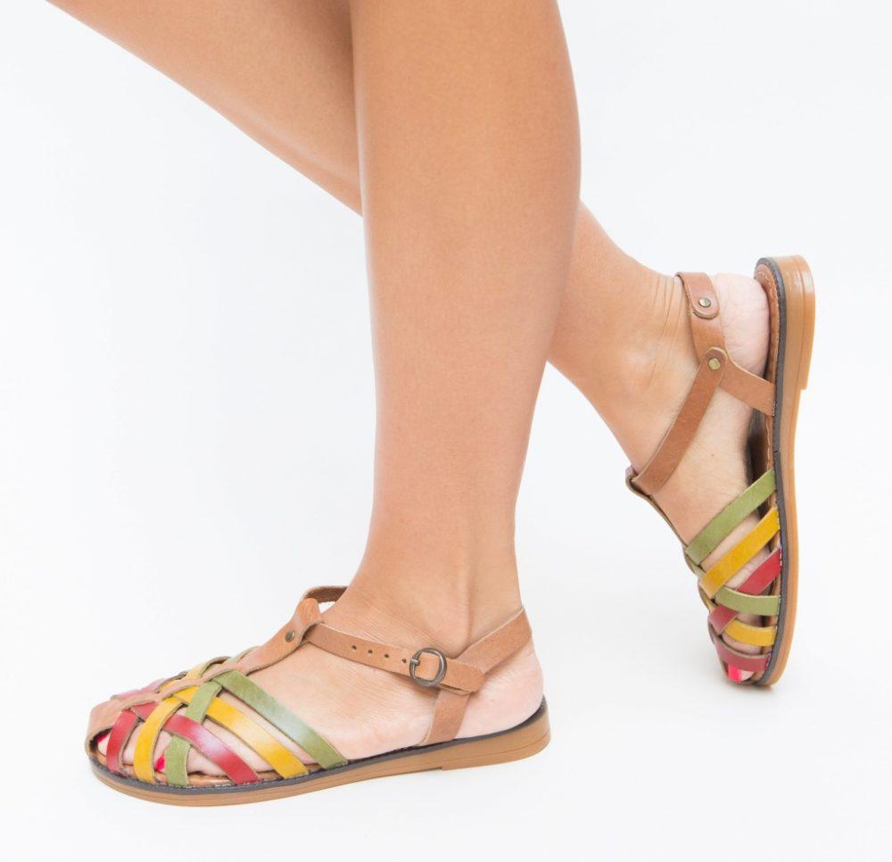 Sandale fara toc Alink Verzi piele