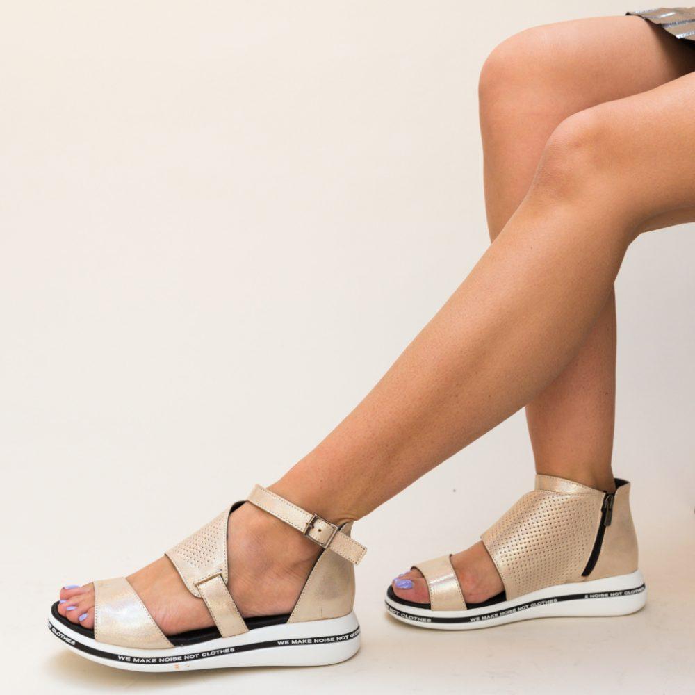 Sandale fara toc Revinda Aurii, piele