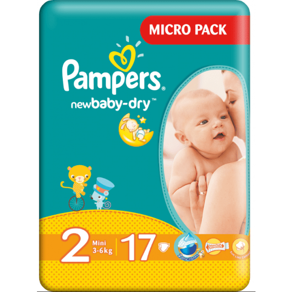 Pampers 2 Mini 3-6 Kg Newbaby Dry X 17 Buc