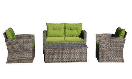Set mobilier gradina/terasa Kring Summer Bali, canapea + 2 fotolii + masuta depozitare, aspect ratan gri, perne verzi