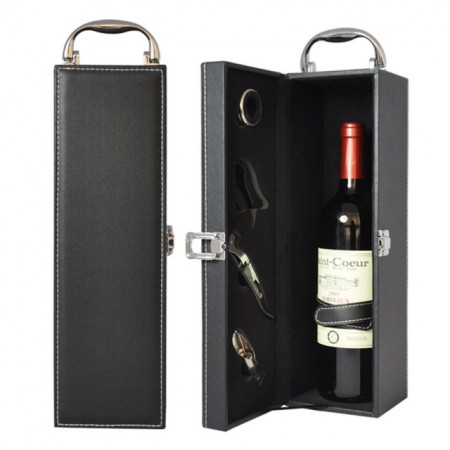 Cutie caseta eleganta pentru sticla, cu maner si set de 4 accesorii pentru vin