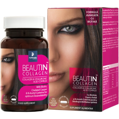 Beautin Colagen cu Acid Hialuronic si Biotina my elements 30 capsule