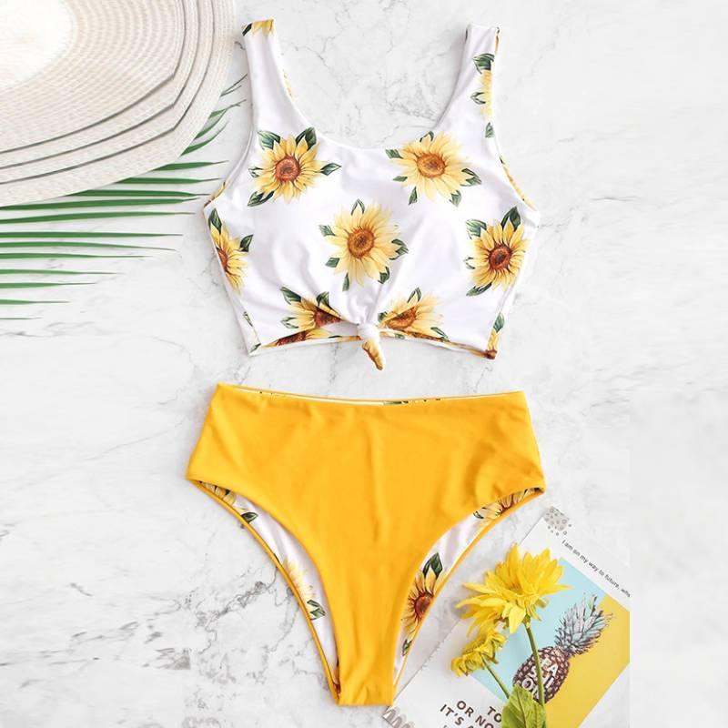 Costum de baie din două piese, pentru femei, cu imprimeu, bikini