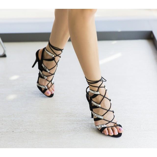 Sandale cu toc Fenaro Negre 1