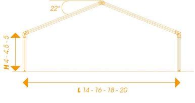 Structura acoperis inclinat la 22 grade