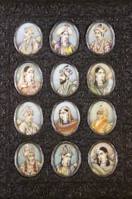 Miniature painting on ivory: Ivory, as a painting surface, was introduced by visiting British artists to India in the 18th Century. Indian artists already skilled at miniature painting immediately took to the new painting surface. The ivory was bleached in the sun to become whiter and the paints were made stickier.