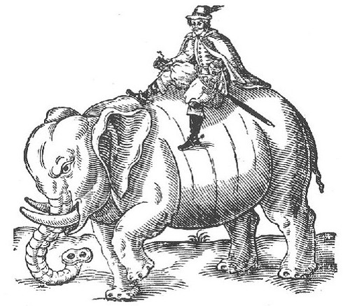 engraving of 17th century Englishman Thomas Coryat, sitting on an elephant