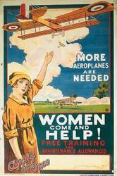 poster urging women to work in aeroplane factories during WW1