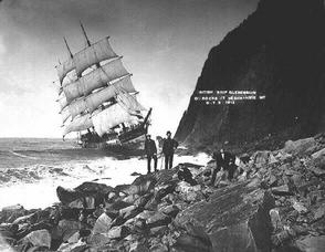 A British clipper ship aground off the coast of Oregon