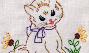 Vintage Kitty with Flowers Machine Embroidery Design 2 sizes, 4×4 or 5×7 vintage colorwork INSTANT D