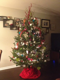 Our beautifully symmetrical Christmas tree!