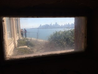 View through a tiny window in the hallway.