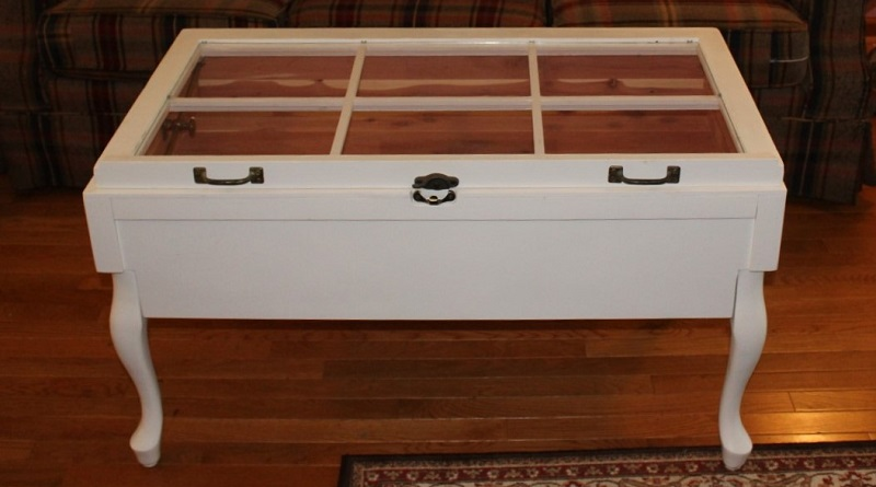 How to Turn an Unused Coffee Table and Old Window into a Coffee Table Display Case