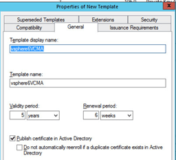 Ramblinghikers vcenter 6 ssl certificate replacement external under general ensure publish certificate in active directory is selected and update the name to vspherevmcs validadityrenewal amened as per local yelopaper Choice Image