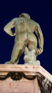 His tush. dont just look at statues from the front., there are great views in the back as well