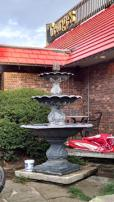 Friday: The patio fountain at George's