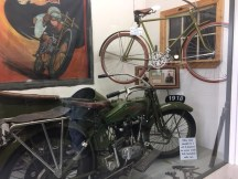 Harley Davidson Bicycle and WWII motorcycle